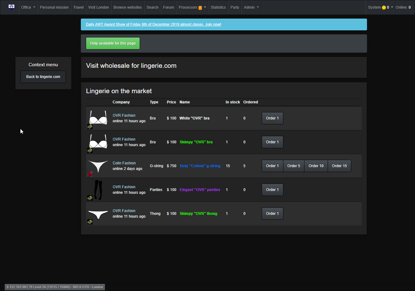Webshop owner wholesale screen: Get your webshops stocked and sell your clothing pieces to other players