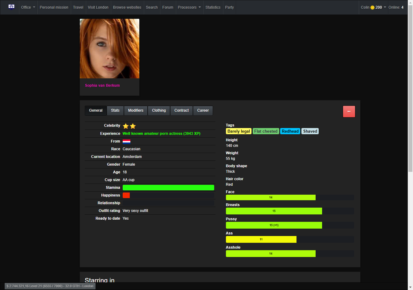 A girl's profile showing the some statistics